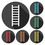Ladder icons set with long shadow. Vector icon Royalty Free Stock Photo
