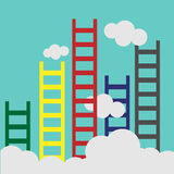 Ladder leading to cloud and many short ones. Business, goal, competition, unique, progress, challenge, hope and leadership Stock Image