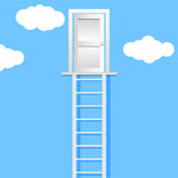 Ladder leading to  door on a clouds  illustration eps 10 Royalty Free Stock Photo