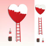 Ladder leading to a heart painting illustration Royalty Free Stock Photos