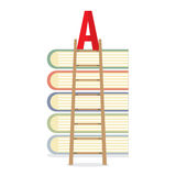 Ladder Lean On Books Toward A-Level Education Concept. Vector Illustration Royalty Free Stock Photo