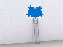 Ladder leaning on puzzle wall with hole Stock Photo