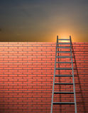 Ladder leans on wall. With sky Stock Photos