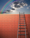 Ladder leans on wall Royalty Free Stock Images