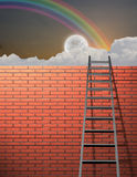 Ladder leans on wall Royalty Free Stock Image