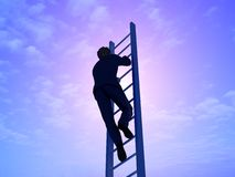 ?he ladder. Man on a ladder against the sky. 3D render Royalty Free Stock Images