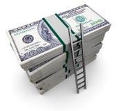 Ladder and money. 3d illustration of ladder to money stack Stock Images