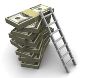 Ladder on money. Stacks of dollars with a ladder on white background - 3d render stock illustration