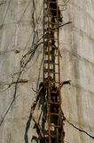 Ladder on an old concrete silo royalty free stock photography