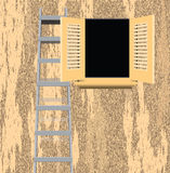 Ladder of old house wall Royalty Free Stock Image