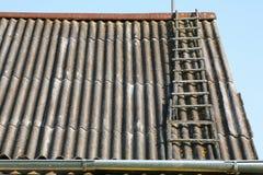Ladder op een dak stock foto's