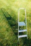 Ladder op groene gazonachtergrond stock foto