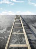 Ladder op grungemuur voor hemel vector illustratie