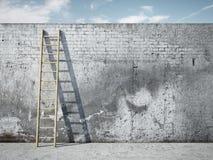 Ladder op muur voor hemel royalty-vrije stock afbeelding