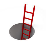 Ladder Out of the Hole. 3d render illustration of red ladder inside a hole Royalty Free Stock Photos