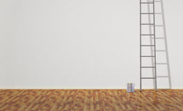 Empty Room with Ladder and Paint Can. Ladder and paint can in the empty room. 3D illustration Stock Illustration