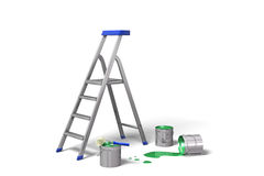 Ladder and paint cans Royalty Free Stock Photos