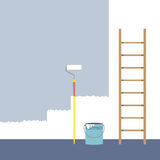 Ladder, Paint Roller And Paint Bucket Home Improvement Stock Image