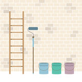 Ladder, Paint Roller And Paint Buckets Home Improvement Royalty Free Stock Photos