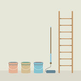 Ladder, Paint Roller And Paint Buckets Home Improvement Stock Images
