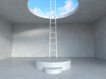 Ladder on podium up to the sky with concrete room  background. 3D rendering illustration. Stock Images