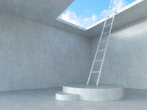 Ladder on podium up to the sky with concrete room  background. Royalty Free Stock Image