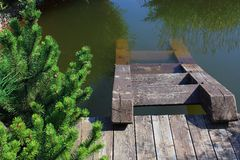 Ladder in a pond Stock Image