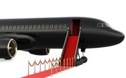 Ladder private jet and red carpet, 3d rendering isolated on white background.  Stock Images