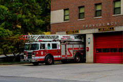Ladder 4, Providence Fire Department. Ladder for leaves its garage responding to a call in Providence, RI stock photo