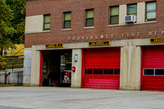 Ladder 4, Providence Fire Department. Ladder for leaves its garage responding to a call in Providence, RI stock images