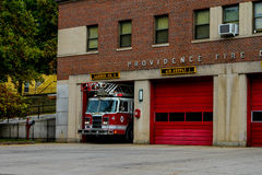 Ladder 4, Providence Fire Department. Ladder for leaves its garage responding to a call in Providence, RI stock photos