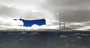 Ladder reaches out of clouds Stock Image