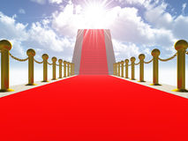 Ladder with a red carpet. Gold columns with a circuit Royalty Free Stock Images