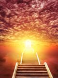 Ladder rising to the rising sun stock image