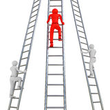 Ladder Rivalry. 3D image of three men trying to get up on ladders Stock Image