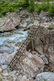 Ladder on the rock for go to jumping Royalty Free Stock Photography
