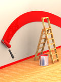 Ladder, roller brush, bucket Royalty Free Stock Photography