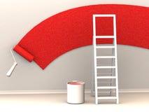 Ladder, roller brush, bucket. Stock Photography