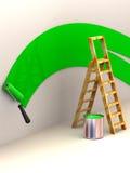 Ladder, roller brush, bucket. Royalty Free Stock Image
