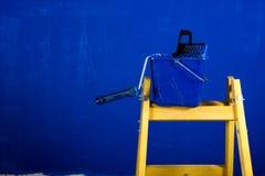Ladder, roller brush, bucket Stock Photos