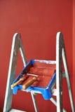 Ladder, roller brush, bucket Royalty Free Stock Photo