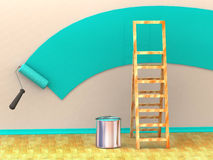 Ladder, roller brush, bucket. Space for text Royalty Free Stock Images
