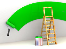 Ladder, roller brush, bucket. Space for text Royalty Free Stock Photo