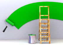 Ladder, roller brush, bucket. Space for text Royalty Free Stock Photos