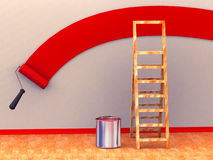 Ladder, roller brush, bucket. Space for text Stock Photography