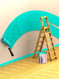 Ladder, roller brush, bucket. Space for text Royalty Free Stock Image
