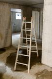 Ladder in rooms on a construction site Royalty Free Stock Images