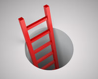 Ladder from round hole. Leadership concept. Illustration 3d rendering Royalty Free Stock Image
