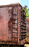 Ladder on Rusty Red Train Car stock photo