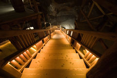 Ladder in salt mine Stock Photography